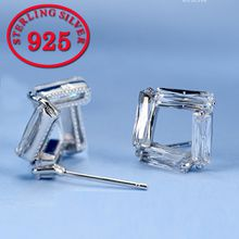 Wholesale Hollow Square CZ Stud Earrings for Women Deluxe Party Jewelly fashion 925 sterling silver Earring anti-allergy