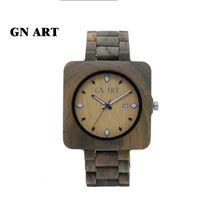 GNART029 Bamboo woodl Wooden Mens Quartz Watches Fashion Natural Wood Watch