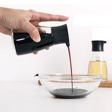Dripless Glass Soy Sauce Dispenser Pot Controllable Leakproof Olive Oil Vinegar Cruet Bottle with Orange Green White Black Cap
