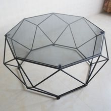 Toughened glass tea table, small family round table
