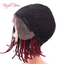 blonde wigs 6-18inch bob synthetic lace front wigs short cheap box braids wigs lace frontal synthetic wigs