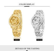 Gold and Silver Luxury Watches Famous Designer Women Flower Fashion Diamonds Quartz Watch Support T/T, L/C, Western Union, PayPal, Alipay
