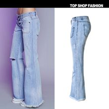 2018 Hot Selling Womens Blue Ripped Skinny Boyfriend Jeans Distressed Hole Skinny Low Rise Bootcut jeans For Women Desiger Flare jeans Sale