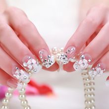 Free Shipping French Flash Drill Flower Full Nail Slice Tips Fake Nails Bridal Nail 3D Exquisite Exquisite Stereoscopic 24piece Product