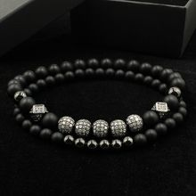 2018 New Fashion 2pcs/set Luxury Crystal Zirconium Bracelet Ms. Men's Jewelry Matte Beaded Bracelet Accessories Gift