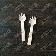 "10090#, 4""inches 10cm Mini wooden fork Disposable Teaspoon Coffee scoops Icecream Cutlery Flatware Eco-Friendly Cake fork"