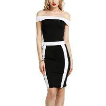 BOFUTE New Europe America Spring Summer Women's Dresses Package Hip Slim Black White Stitching Sexy Dress 16038
