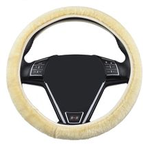 38cm circular short plush car steering wheel cover used in winter keep warm hand feeling and easy to install