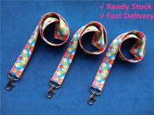 Ready Stock Lanyard Wholesale Multicolor Rainbow Lanyard for Badges Keys Work Permit School Card neck strap for Mobile Phone Colors Print