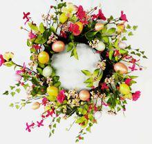 """Alldeco 20"""" Spring Decorative Easter Egg Wreath"""