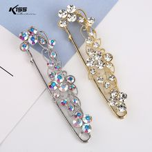 Fashion Gold Silver Plated Alloy Brooch Colorful Crystal Flower Women Brooches Pins