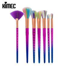 Colorful 7pcs Makeup Brush Set In Special Shape Mainly Use For Professional Powder Contour Eyeshadow Beauty Tool