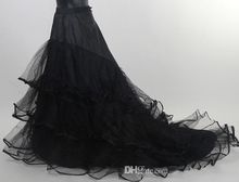 Fashion Long Full Length A-line Black Tulle Net Wedding Prom Petticoat with Ruched Edge Layered A-line Court Train Skirt Crinoline