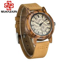 SIHAIXIN wood hand women quartz watches with leather strap sports wrist watch luxury leather strap for girl gift