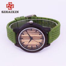SIHAIXIN Fashion Simple Style Men Wooden Bamboo Case With Soft Multicolor Silicone Strap Watch Quartz Movement Clock Relogio De