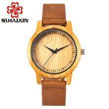 SIHAIXIN Homem Relógio De Madeira Estilo de Vida Design Elegante Pulseira de Couro Relogio Masculino Relógios Com Zebra Madeira Saat