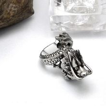 Men's dragon vintage silver stainless steel rings fashion korean style titanium steel metal rings jewelry accessories