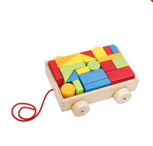 2017 New China Factory Mini Walker Baby Toy Hand Pull Cart Wooden Toy Building Blocks Set Wooden Building Block