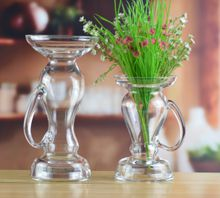 Set of 2 handmade crystal pastoral glass vase