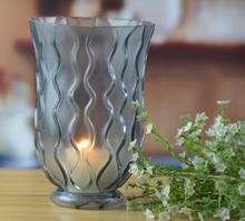 Grey glass vase with diamond decoration