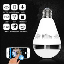 Dome Camera 960P Wifi Wireless IP Bulb Hidden Camera with Fisheye Lens 360° Panoramic for Remote Home Security System