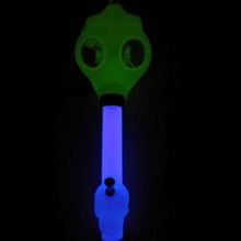 Newest one Kit Dark Light Gas Mask And Silicone Beaker Bong Water Pipe Dab Rig Metal Pipe
