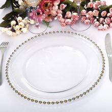 Holy wholesale handmade Cheap clear dessert glass wedding charger event plates
