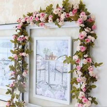 Wisteria rose Vine flower rattan Garland long wisteria 2.3M length Home Wall Party Decorations wedding party decoration HW009