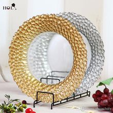 Wholesale Weddings Braid Gold Glass Charger Plate