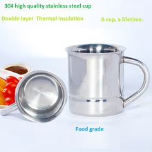 High quality 304 stainless steel coffee mug 130ml double wall beer cup water food grade kids cup with handle