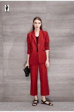 Red Spring Trend Jacket Pants Office Uniform Bussiness Ladies Office Wear Suits Formal Elegant Pants Suits With Blazer Work Suits Designer