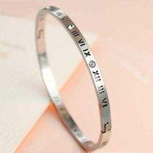 High Quality New Roman Number Love Bangle Titanium Gold Color Cuff Bracelets Bangles Wedding Women Men Bangle