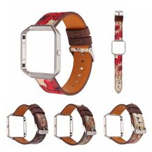 For Fitbit Blaze Band Retro Flower Replacement Genuine Leather Wrist Band Strap for Blaze Smart Watch with Metal Frame